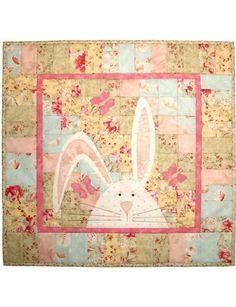 """Bargello Bunny with Butterflies"" Quilt Pattern at Castilleja Cotton"