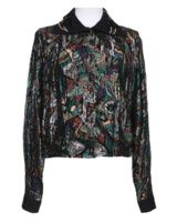 80s Multicoloured Metallic Batwing Blouse vintage top jacket evening party disco