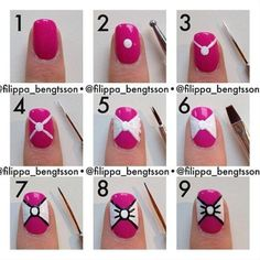 Easy Bow Tie Nail Art Tutorial | DIY Tag Bow Nail Designs, Simple Nail Art Designs, Cute Acrylic Nail Designs, Nail Designs 2015, Cute Acrylic Nails, Nails Design, Bow Nail Art, Bow Tie Nails, Nail Art Diy