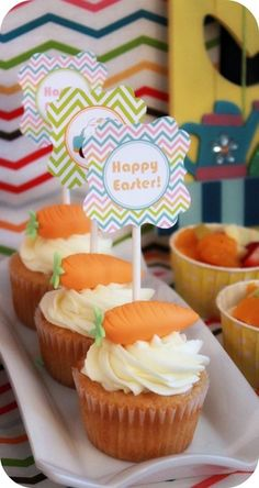 Carrot topped cupcakes at an Easter Party #easter #partycupcakes