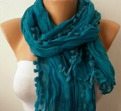 Teal Women Shawl Scarf by fatwoman on Etsy, $13.50