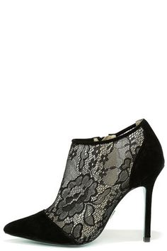 Black Suede Leather Lace Booties