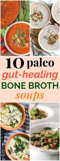 10 Paleo Gut Healing Bone Broth Soup Recipes These 10 bone broth soup recipes are amazing for helping to heal the gut and restore your body's ability to absorb nutrients from food. All 10 recipes are both paleo and compliant, gluten-free, and dairy-free! Healthy Soup Recipes, Whole Food Recipes, Eat Healthy, Whole30 Soup Recipes, Keto Recipes, Sushi Recipes, Healthy Smoothies, Beef Broth Soup Recipes, Vitamix Soup Recipes