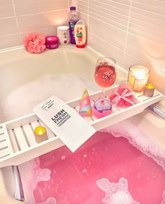 Pretty pink LUSH bubble bath | Wine, candles, bath bombs