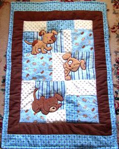 Quilts: Boy Baby Quilt Baby Quilt Kits Boys Puppy Baby Quilt Flannel Blanket Patchwork Flannel Back Boy Blanket X Via Baby Quilt Kits Boys Easy To Make Baby Boy Quilts: Quilt Baby, Baby Boy Quilt Patterns, Patchwork Quilt Patterns, Patchwork Blanket, Patchwork Baby, Quilting Patterns, Baby Quilts For Boys, Baby Boys, Baby Quilt Panels