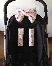 Pram harness covers PADDED BOW ROSES FLORAL ditsy pram pushchair hood bag NEW