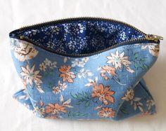 Blue Floral Cosmetic Bag  Large Make Up Bag  by KambBoutique