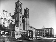 Berlin, Germany. Friedrichswerdersche Kirche (1824–30 built by F.K. Schinkel).  View of the west facade after bombing in 2nd World War, to the right ruins of the Bauakademie by Schinkel.  Photo, 1946.