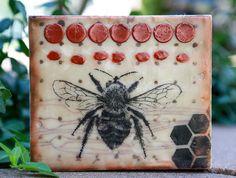 "6"" x 7"" Bee Love Original Encaustic Painting by BeesNTreesEncaustics on Etsy https://www.etsy.com/listing/482149649/6-x-7-bee-love-original-encaustic"