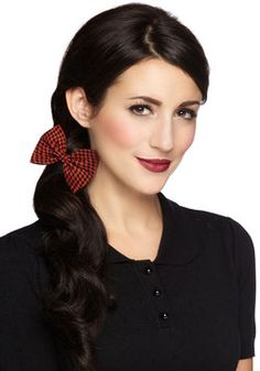 Darlin' Detail Hair Clip in Brick Houndstooth, #ModCloth