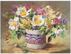 ''Summer Flowers in a Honiton Pot'' by Anne Cotterill