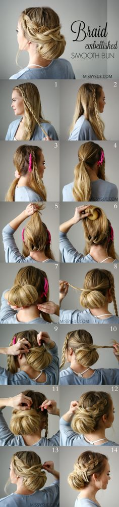 Check out this unique braid embellished smooth bun tutorial!Tips To Instantly Make Your Hair Look Thicker - How To: Pull-Through BraidBraid Embellished Smooth Bun Easy Braid Hairstyle - DIY Products, Step By Step Tutorials, And Tips And Tricks For Ha Braided Hairstyles, Wedding Hairstyles, Holiday Hairstyles, Updo Hairstyle, Braided Updo, Hairstyle Ideas, Hairstyle Tutorials, Ponytail Haircut, Classy Hairstyles