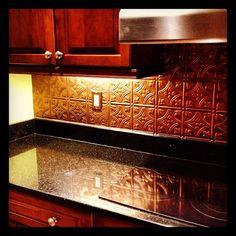 Copper Coloured Tin Back Splash By Jt Installations Inc Kitchen Copper