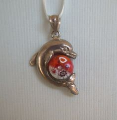 61b6cad9af27 MILLEFIORI GLASS Dolphin Porpoise Pendant-Vintage Sterling Silver  925-Flower Hallmark-Red White Glass-Aquatic Nautical Ocean Sea-Flower-6889