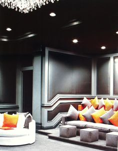 Love this idea for home theatre, couples couch for most use and extra seating for visitors...