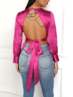Blusa con espalda descubierta de Bowknot Solid