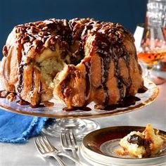 Chocolate Bourbon Pecan Monkey Bread Recipe -Time to give rum cake a little competition! If this boozy take on monkey bread is too strong for your taste, cut back on the bourbon or use milk as a non-alcoholic substitute. —James Schend, <I>Taste of Home</I> Food Editor