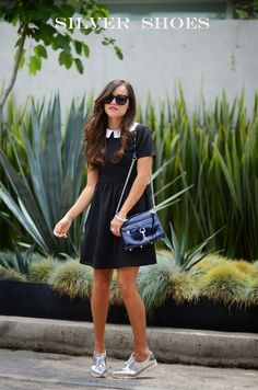 17 Ideas to wear black dresses on Chicisimo Casual Dress Outfits, Business Casual Outfits, Casual Winter Outfits, Estilo Preppy, Really Cute Outfits, Silver Shoes, Girl Fashion, Ladies Fashion, Clothes