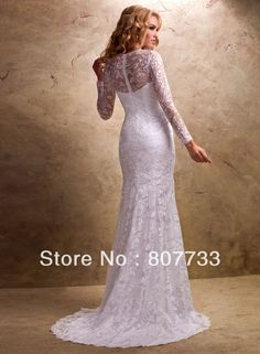 Like this bottom.   Lace Wedding Dress with Sleeves