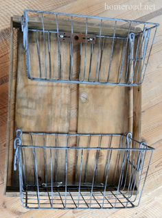Turn rustic metal baskets into shelves for the bathroom.