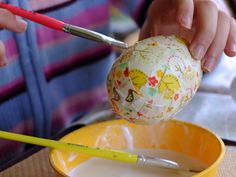 Making fabric mâché easter eggs - polystyrene egg craft