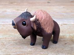 Buffalo: Handmade miniature polymer clay animal by AnimalitoClay