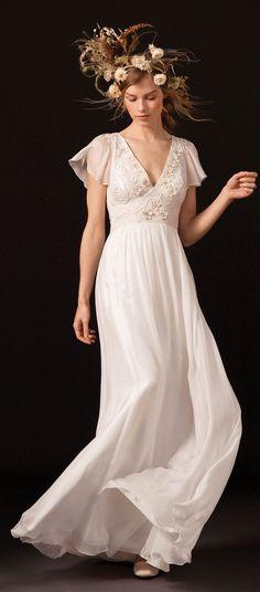 Flared bohemian sleeves v neckline with dotty tulle godets a line wedding #weddingdress #wedding #weddinggown