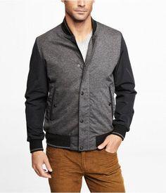 Express Mens Mixed Media Baseball Jacket $168.00 - Buy it here: https://www.lookmazing.com/express-mens-mixed-media-baseball-jacket/products/5974353
