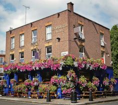 Pub with hanging baskets.