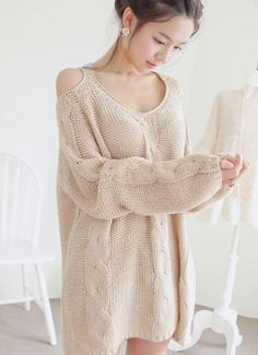 Cut out shoulder sweater. This with leggings in a fall color and brown boots would be adorable!