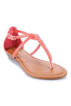 Bamboo Sharing-02 Braided T-Strap Flat Sandal