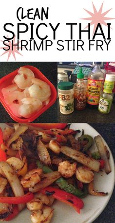 [Clean Spicy Thai Shrimp Stir Fry] One of the simplest and most delicious healthy recipes you will ever make, and its 21 Day Fix approved! Day Fix Recipes Shrimp) Spicy Recipes, Clean Eating Recipes, Seafood Recipes, Healthy Eating, Cooking Recipes, Healthy Recipes, 21 Day Fix Diet, Shrimp Stir Fry, Spicy Thai