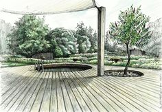Terrace in the garden project- by wiktor kłyk architektura krajobrazu, ogro Landscape Architecture Drawing, Landscape Sketch, Landscape Drawings, Landscape Plans, Architecture Plan, Cool Landscapes, Landscape Design, Garden Design, Sketches Arquitectura
