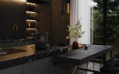 Black house in the woods, United States|Villa Modern Interior, Home Interior Design, Interior Decorating, House Layout Plans, House Layouts, Dream House Interior, Architecture Visualization, Dark Interiors, House In The Woods