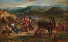 Ovid among the Scythians, Eugène Delacroix (French, Charenton-Saint-Maurice 1798–1863 Paris), Oil on paper, laid down on wood