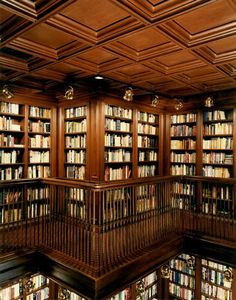 Amazing (personal?) library with coffered ceilings. Want.