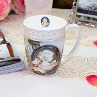 Moda porcelana presente da caneca copo do vintage clássico cerâmica escritório copo de vidro
