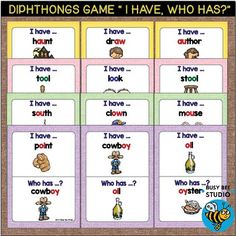 Diphthong Game: I have, Who has... These Diphthongs AW-AU, OW-OU, OO-OO, OY-OI Games are great for introducing, drilling and/or revising.