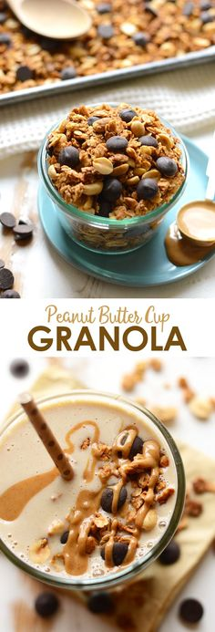 This granola recipe is a peanut butter cup in granola form! Crunchy, peanut-y and oh so delicious. Top your smoothie or yogurt with this peanut butter cup granola for the best breakfast ever. Gluten Free Recipes For Breakfast, Vegetarian Breakfast, Healthy Breakfast Recipes, Healthy Desserts, Snack Recipes, Healthy Breakfasts, Oatmeal Recipes, Free Breakfast, Breakfast Time