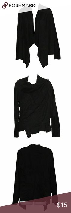Black Super Soft Open Front Hi-Lo Cardigan ℹSoft to the touch, faux suede like swing cardigan  ℹCondition: gently worn, washed in natural detergent for sensitive skin  ℹColor: Black  ℹFeatures: swing front flaps, can be worn over shoulder  ℹMaterial: 92% polyester,8% spandex, super soft  ℹSize: Large  ℹFor measurements please see photos Tops