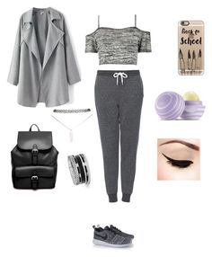 """""""me at school"""" by kunmi15 ❤ liked on Polyvore featuring Boohoo, Topshop, Casetify, NIKE, ASOS, Eos, Wet Seal and GUESS"""