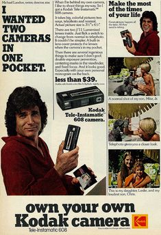 1977 Ad, Kodak Tele-Instamatic 608 Camera, with Actor-Director Michael Landon | Flickr - Photo Sharing!
