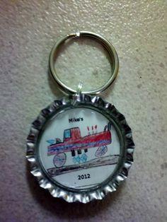 Kids art work on a bottlecap keychain