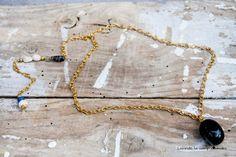 Collar dorado doble con Onix de Laurita's Accessories por DaWanda.com