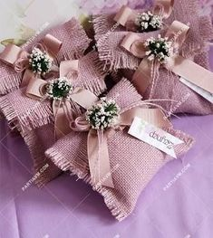 Jute Fabric Lavender Pouch- Miss. Jüt Kumaş Lavanta Kesesi Miss. Lavender Bags, Lavender Sachets, Wedding Gifts For Guests, Wedding Favor Boxes, Diy Crafts For Gifts, Diy Arts And Crafts, Trousseau Packing, Homemade Wedding Favors, Creative Gift Wrapping