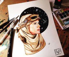 Rey Star Wars watercolor painting