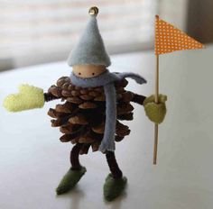 Pinecone Elf with felting. Cute!