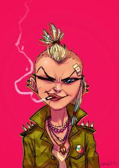Craig Knowles Design and Animation: Tank Girl Doodle Dump Arte Punk, Punk Art, Character Design Girl, Character Art, Tank Girl Comic, Chica Punk, Skinhead Girl, Bald Girl, Bd Comics