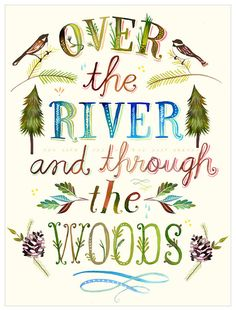 """Bring life to your bare walls with the whimsical """"Over the River and Through the Woods"""" Wheatpaste Wall Art from GreenBox Art. This removable wall sticker features """"Over the River and Through Woods"""" over a nature-inspired backdrop. Daisy Art, Wall Decals, Wall Art, Wall Mural, Acrylic Artwork, Removable Wall Stickers, Over The River, Wood Print, Collages"""