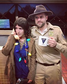 15 Couples Who Totally Nailed Their Halloween Costume Ideas for Couples + This Funny Stranger Things Netflix TV Show Movie Duo. 2 Person Halloween Costumes, Clever Couple Costumes, Stranger Things Halloween Costume, Classic Halloween Costumes, Fete Halloween, Creative Halloween Costumes, Eleven Stranger Things Costume, Hopper Stranger Things Costume, Zombie Costumes